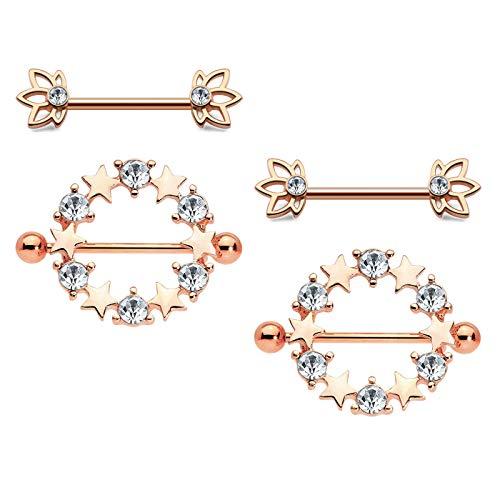 Jeweled Circular Barbell Ring - MODRSA 2 Pairs Nipple Rings Jeweled Dainty Heart Nipplerings Piercings Women Surgical Steel Nipple Barbell Kit for Women Girls 14G