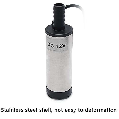 DC 12V 38mm 8700r/min Silver Fuel Car Oil Electric Submersible Water Pump Stainless Steel by Isguin (Image #1)