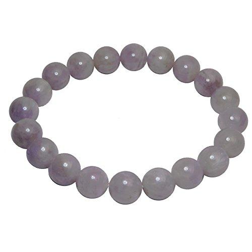 Lavender Polished Bracelets - Satin Crystals Amethyst Lavender Bracelet 9mm Boutique Rosy Purple Genuine Gemstone Round Handmade Stretch B02 (7)
