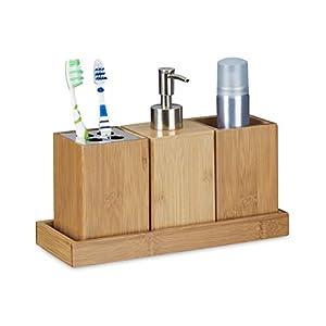 Relaxdays – Set Conjunto de 4 Piezas para el Cuarto de baño, bambú, 18.5 x 25 x 10.5 cm, Soporte de Cepillo de Dientes… 41fyjpcM2kL