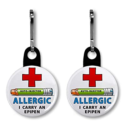 2 x ALLERGIC I Carry an EPIPEN Medical Alert 2.5 cm Zipper Pull Charms