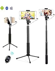 Selfie Stick,Tripod with Remote,Wired Selfie Stick with Cable Storage Slot,for Android Samsung Galaxy - Bigbull