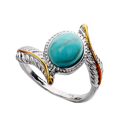 AfazfaLuxury Creative Turquoise Feather Enamel Ring Women's Jewelry (L7)