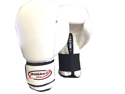 Woldorf USA Boxing Gloves in Leather White 16oz by Woldorf USA