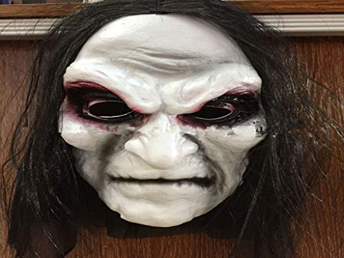 yumiao Halloween Zombie Mask Ghost Festival Horror Mask Masquerade Horror Zombie Long Hair Black Cloth Blood Mask for $<!--$20.00-->