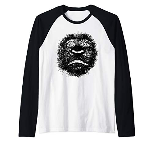 Chimpanzee Face Ape Funny Gift for Chimp Fan Gorilla Lover Raglan Baseball Tee