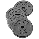 York Fitness Standard Cast Iron Weight Plates - Weightlifting Dumbbell Set for exercises such as squats, deadlifts, bicep curls, military press, skull-crushers and bench presses - 4 x 5kg
