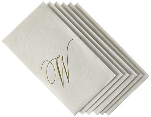 Entertaining with Caspari White Pearl Paper Linen Guest Towels, Monogram Initial W, Pack of 24