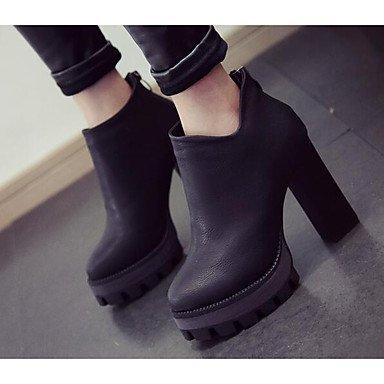 Botas de cuero de la mujer Confort Casual Primavera Pantalla plana color Negro gris Screen Color