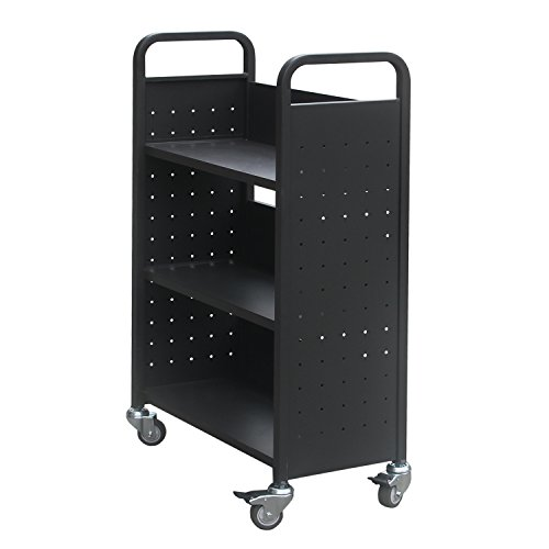 Single Sided Book Cart (Heavy Duty Library Book Carts with 3 Single-sided Book Shelves, Rolling Book Storage Truck with Lockable Wheels 200lbs Capacity (Black))
