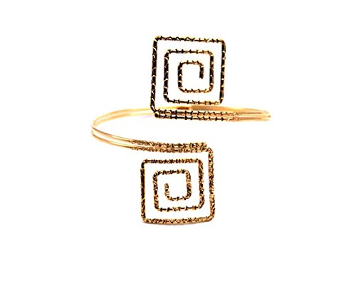 Bohemian Gold Square Hoop Open Upper Arm Cuff Armlet Armband Bangle Bracelet (Arm Band Jewelry)