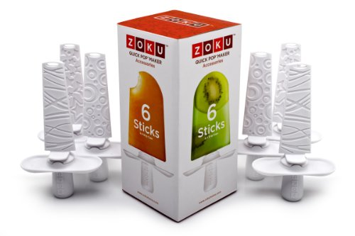 Zoku Set of 6 Popsicle Sticks and Drip Guards, Compatible with Zoku Quick Pop Maker