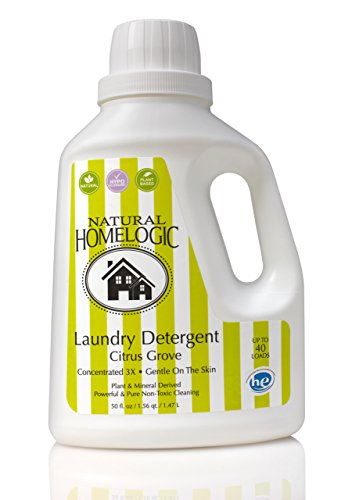 Natural HomeLogic Eco Friendly Laundry Detergent, 50 oz Citrus Grove | Gentle on the Skin | Powerful & Pure Non-Toxic Cleaning | Plant & Mineral Derived | Concentrated 3X | - Liquid Concentrated Detergent Laundry 3x
