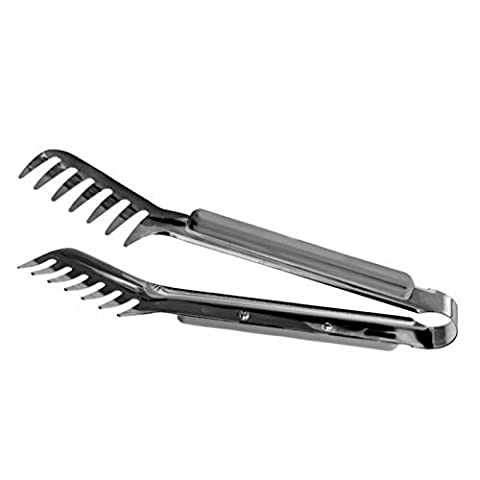 HornTide Stainless Steel Pasta Tongs Pack of 2 Piece Teethed Ends Design for Spaghetti Noodle Pastry Kitchen Serving Tong Set (Food Tongs 9)