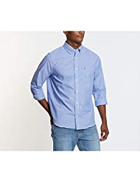 Nautica - Camisa de manga larga para hombre, resistente a las arrugas