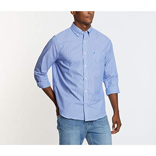 Nautica Men's Wrinkle Resistant Long Sleeve Button Front Shirt, French Blue, X-Large