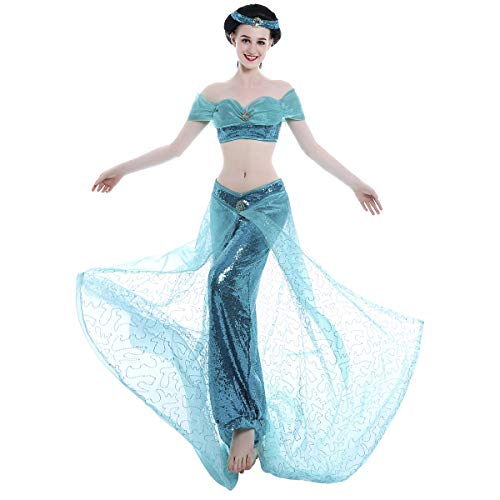 iCos Girl Women's Hand Sewing Sequins Shinny Pants Dancing Party Princess Costume Dress (Small) ()