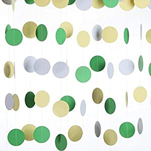 MOWO Spring Green Yellow White Paper Garland Circle Dots Hanging Decoration Wedding Favors Baby Boy Shower Birthday Party Decoration Table Centerpieces, 20ft