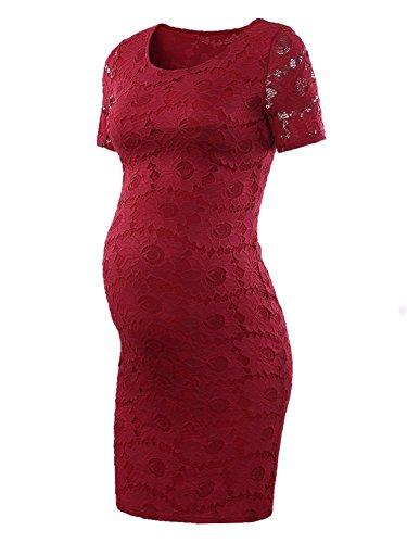 (Liu & Qu Women's Lace Maternity Bodycon Lace Dress Mama Causual Short Sleeve Wrap Dresses)