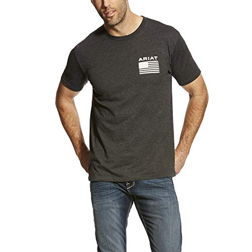 (ARIAT Men's Freedom Ss T-Shirt Charcoal Heather Size XL )