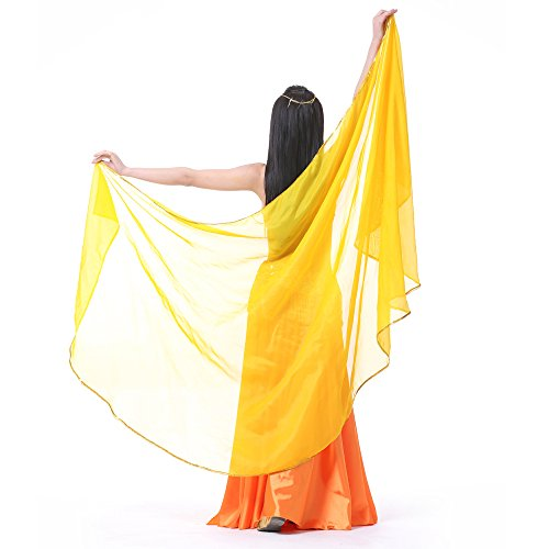 (8.2 ft x 3.9 ft Light Weight Semicircle Chiffon Scarf, Belly Dance Veils, Belly Dance Shawls (YELLOW))