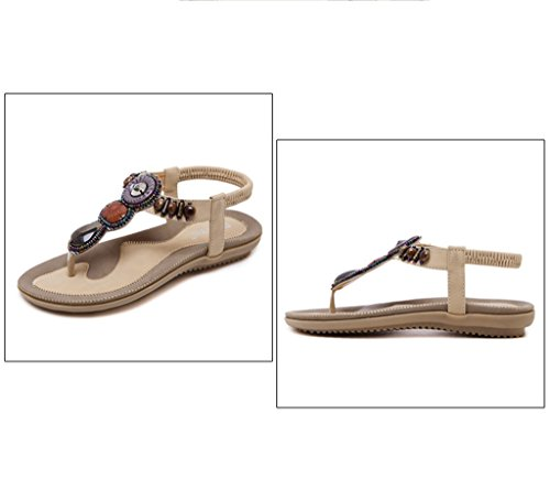 T Meijili Flip Strap Beaded Toe Ankle Flops Sandals Summer Apricot Women's Shoes Round Sandals Peep Bohemian Strap Elastic Beach Flat 6zE8xrw6