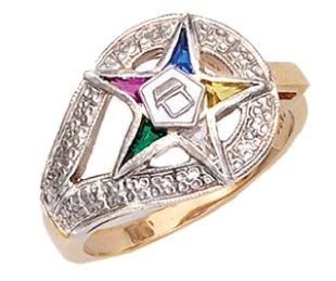 US Jewels And Gems Ladies Vermeil Masonic Freemason Eastern Star Ring (Size 8.5)