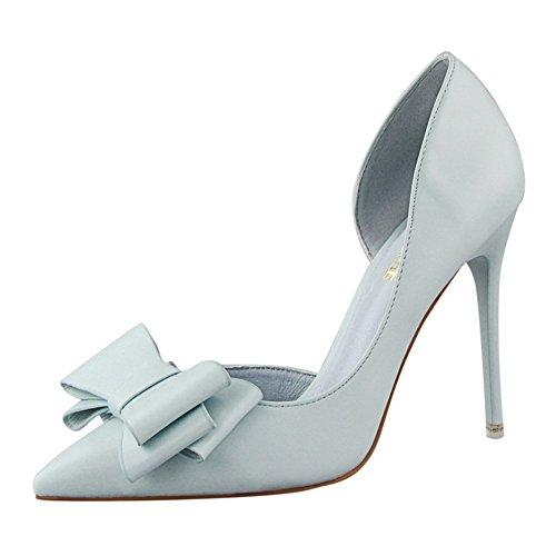 Inconnu Chaussures Aiguille Pumps Élégant Nœud Fermés Talons Hauts Pour Bleu Sandale Femme Pointus Escarpins ZZdxqr