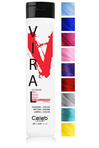 (Celeb Luxury Viral Colorwash: Red Color Depositing Shampoo Concentrate, 10 Vivid and Pastel Colors, Stops Fade, 1 Quick Wash, Cleanse + Color, Sulfate-Free, Cruelty-Free, 100% Vegan)