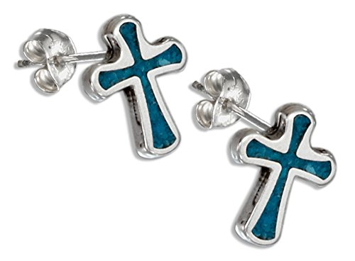 - Sterling Silver Simulated Turquoise Cross Earrings Stainless Steel Posts/nuts