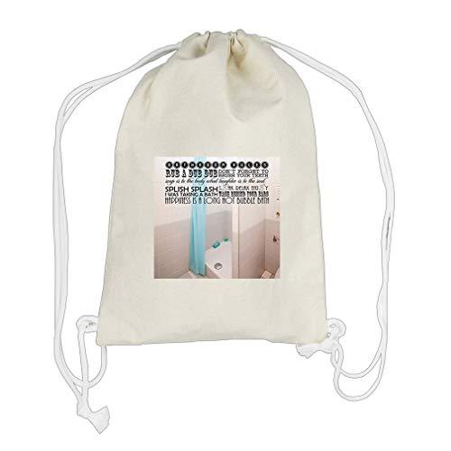 Splish Splash I Was Taking A Bath Wash Cotton Canvas Backpack Drawstring Bag