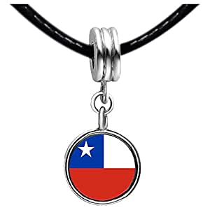 Chicforest Silver Plated Chile flag Photo Peridot Crystal August Birthstone Flower dangle Charm Beads Fit Pandora Chamilia Biagi Charm Bracelet