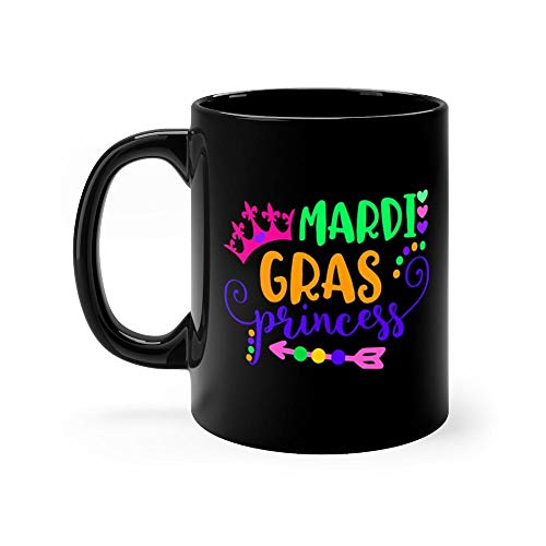 Fun Mardi Gras Princess Mug 11 Ounce Coffee Mug, 11oz Ceramic Coffee Cups, Funny Gift Mug, Unique Novelty Gift Tea Mugs, Funny Mug For Men, Women, Him, Her ()