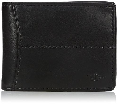 Dockers Men's Bifold Leather Wallet - Thin Slimfold RFID Blocking Security Smart Extra Capacity,Center Stitch Black