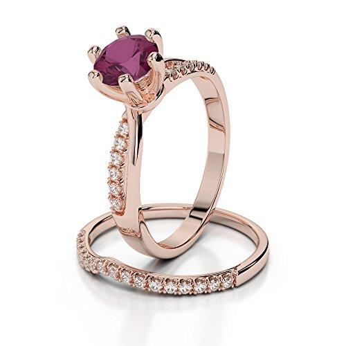 Or Rose 18carats 1CT G-H/VS Certifié Coupe ronde Rubis et diamant de mariage Bague de fiançailles et ensemble de Agdr-2021
