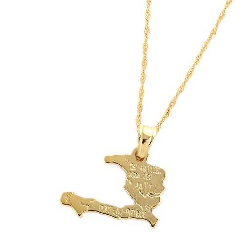 Haiti Map Necklace Pendants For Women Necklace Real Gold Plated Jewelry Gifts Map Of Haiti (Accessories Haiti)