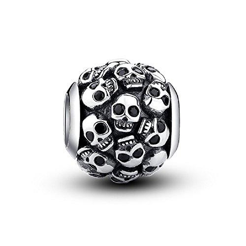 (Glamulet 925 Sterling Silver Unique Neutral Gothic Charms Fit for Bracelets & Necklace (All Skulls))