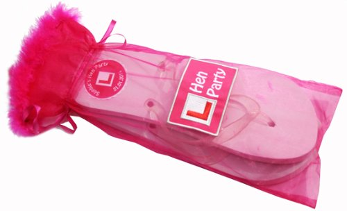 a1270158d4713 10 Pairs Personalised Hen Party Flip Flops with Organza Feather Bag - One  size
