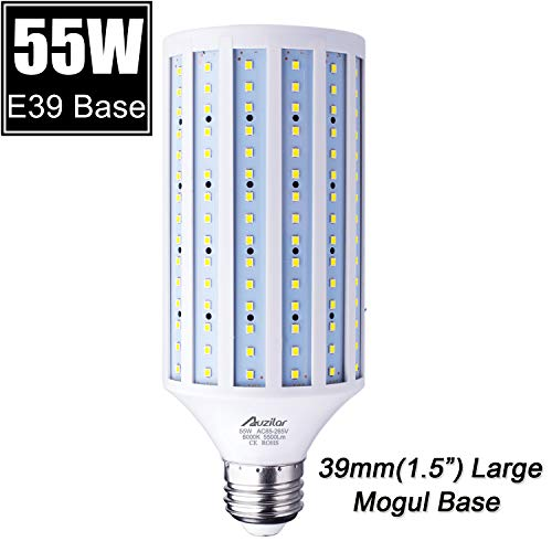 55W LED Corn Light Bulb (E39 Large Mogul Base) 5500Lm 6000K Cool White Daylight, for Metal Halide HID HPS Replacement Garage Parking Lot High Bay Warehouse Street Lamp Lighting 85V-265V