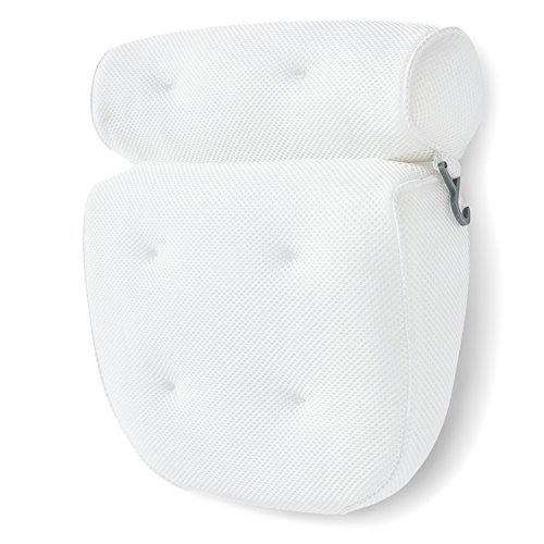 Bath Pillow Bathtub Spa Pillow, Non-slip 6 Large Suction Cups, Extra Thick for Perfect Head, Neck, Back and Shoulder Support by Idle Hippo, Fits All Hot Tub, Whirlpool, Jacuzzi & Standard Tubs ¡­