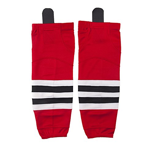 Premium Shin Pads Hockey Socks Kids, COLDINDOOR Youth Child Ice Hockey Practice Velcro Socks Dry Fit Boy Red XS (Ice Youth Hockey Equipment)