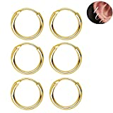Sleeper Cartilage Tiny Small Hoop Earrings 925 Sterling Silver Gold Plated Round Nose Ring Helix Tragus Piercings Thin Endless Hoops 10mm 3 Pairs Set