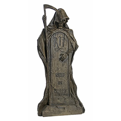 (Design Toscano Rest in Pieces Grim Reaper Halloween Tombstone Gothic Decor Garden Graveyard Statue, 25 Inch, Polyresin,)