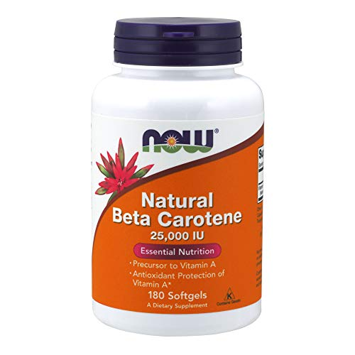 NOW Supplements, Natural Beta Carotene, 180 Softgels Beta Carotene Softgels Antioxidant Vitamins