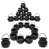 Black Cauldron Candy Kettles Bulk, Plastic Halloween Decorations, Kettle Candies Holder, Party Favors Décor, 2 Dz. 24 Pack, By 4E's Novelty