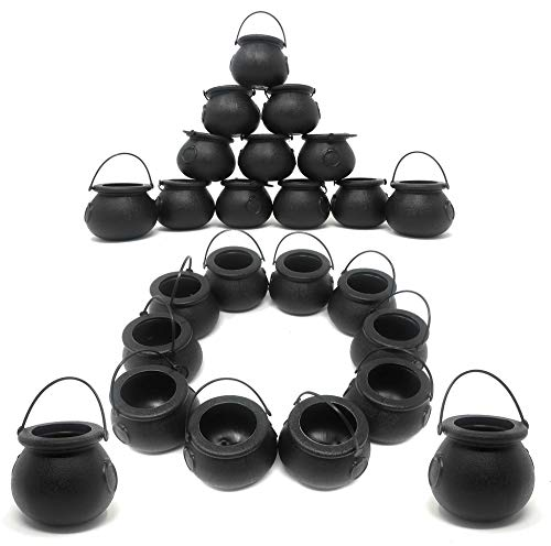Cauldron Witch - BULK 24 Black Cauldron Candy Kettles Plastic St Patrick's Decorations, Kettle Candies Holder, Party Favors Décor, By 4E's Novelty