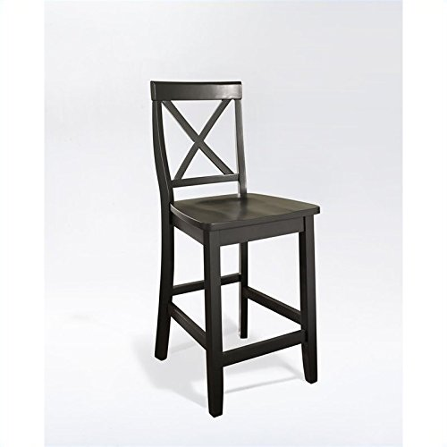 - Crosley Furniture CF500424-BK X-Back Bar Stool (Set of 2), 24-inch, Black