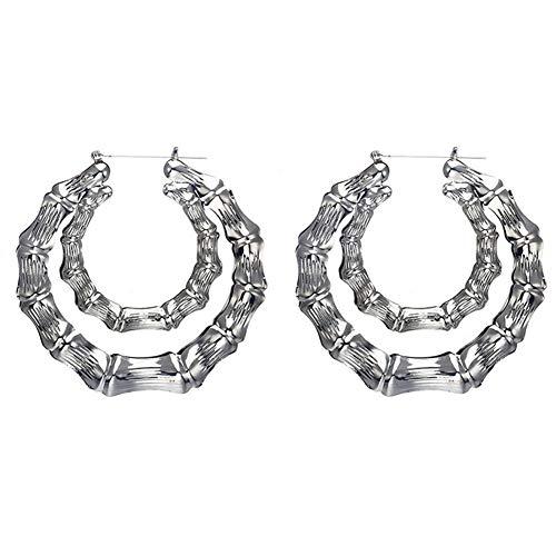 Zealmer Punk Bamboo Double Circle Hoop Earrings for Women Silver Tone
