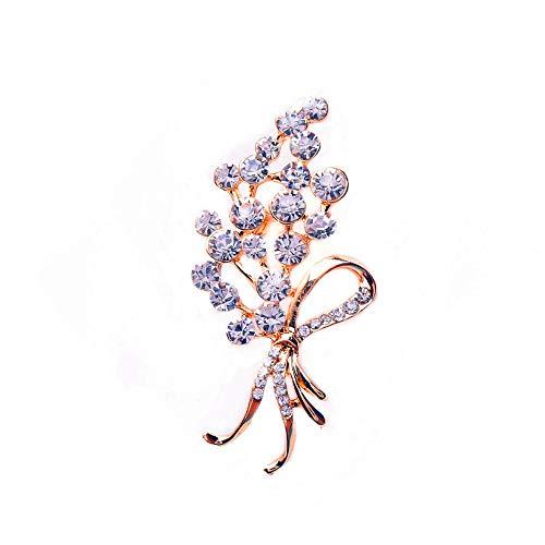 GYAYU Brooch Pins for Women,Gold Tone Austria Rhinestone Crystal Brooch Pins Jewelry (Ribbon) (Rhinestone Tone Pin)