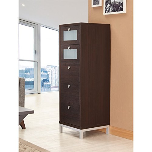ioHOMES Keller 5-Drawer Chest with Tempered Glass, Cappuccino